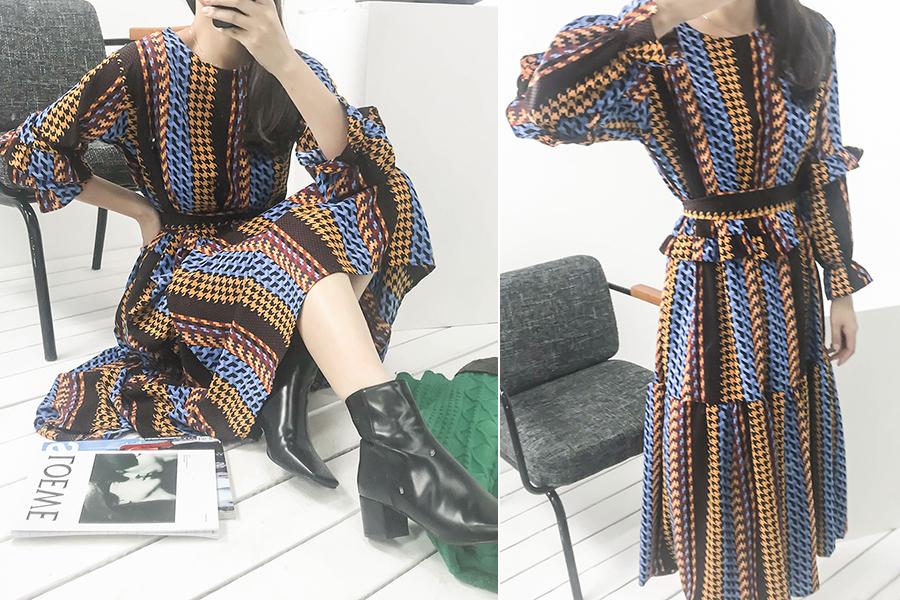 blancjo-레트로 패턴 프릴 롱 원피스_op03437♡韓國女裝連身裙