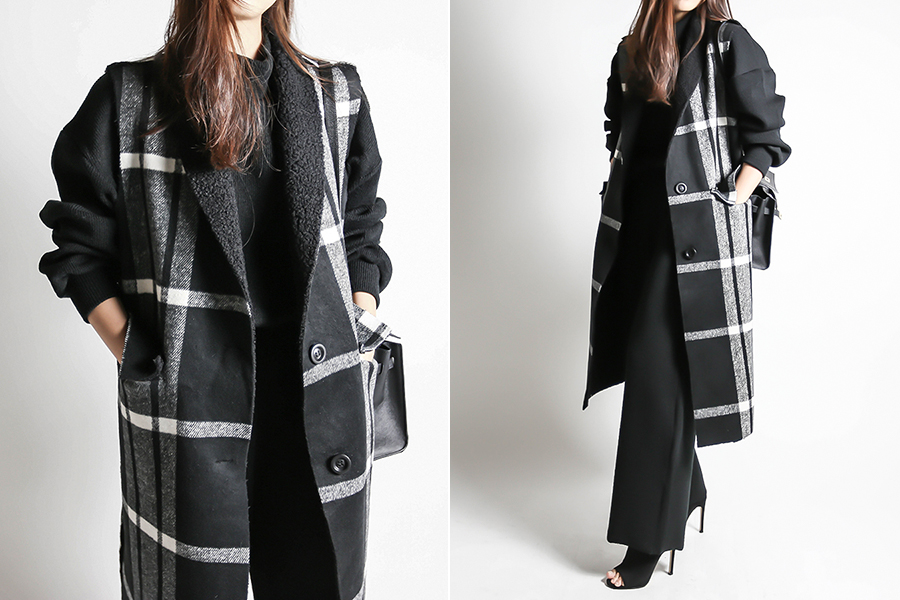 blancjo-무스탕 체크 모직 롱 베스트_vt03447♡韓國女裝外套