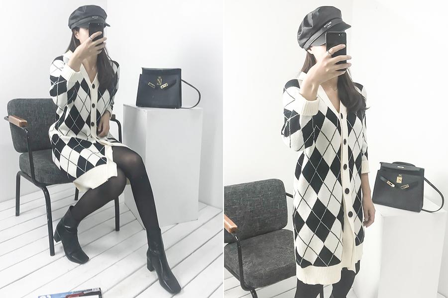 blancjo-아가일 패턴 롱 가디건_cd03438♡韓國女裝外套