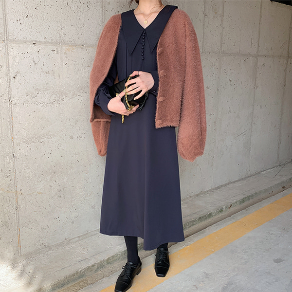 66girls-[LL] 파이카라버튼OPS♡韓國女裝連身裙