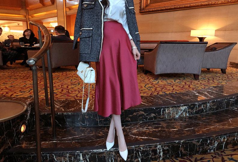ROSEFACTORY-샤인 롱 스커트(3color!)♡韓國女裝裙