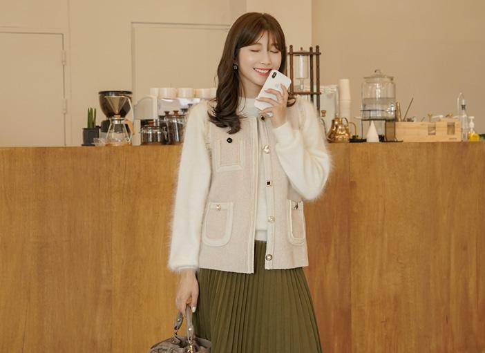 clicknfunny-[러벌트 버튼울베스트]♡韓國女裝外套