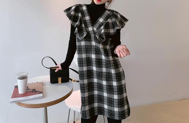 minsshop-(면100%)오드리 프릴 체크원피스♡韓國女裝連身裙