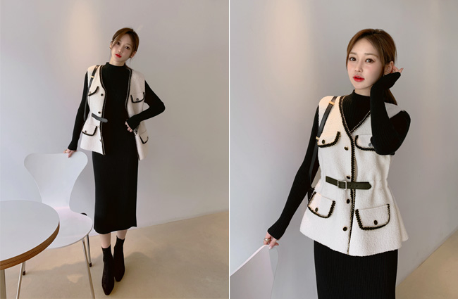 minsshop-양털조끼+원피스 SET이걸다  니트원피스세트♡韓國女裝套裝