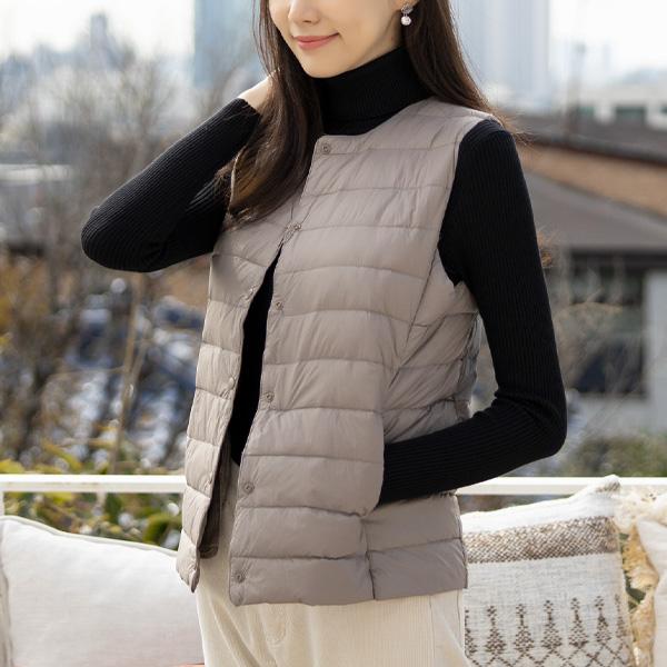 misscandy-[no.18042 라운드&브이넥 덕다운 경량베스트]♡韓國女裝外套