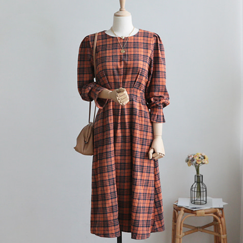 jooen-OPS3464/Warm Check Mood Ribbon Dress(55~통통66)♡韓國女裝連身裙