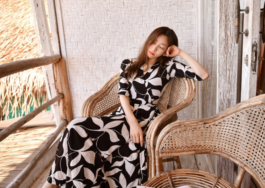 myclassy-Chandelier leaf wrap dress♡韓國女裝連身裙