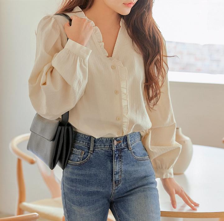 common-unique--피나 언발 프릴 V 넥 블라우스♡韓國女裝上衣