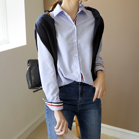 jooen-BL2432/Basic Stripe Edge Color Shirts(55~66반)♡韓國女裝上衣