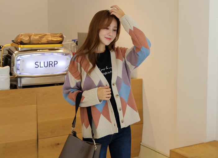 clicknfunny-[카돈즈 아가일가디건]♡韓國女裝外套