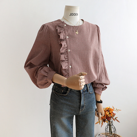 jooen-BL2571/Lovely Check Frill Blouse/1(F~77),2(88~99),3(100~110)♡韓國女裝上衣
