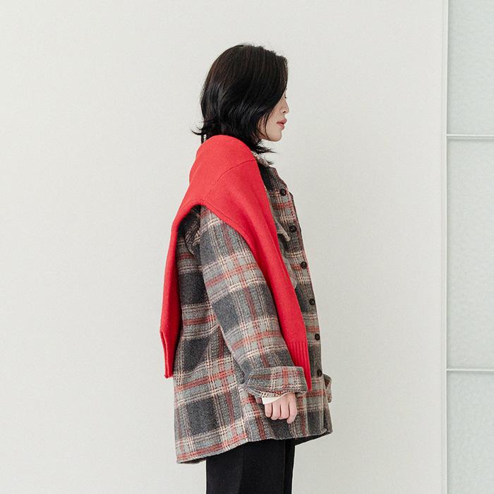 09women-[(unisex)블럭 체크 셔츠 울 자켓 46371]♡韓國女裝外套