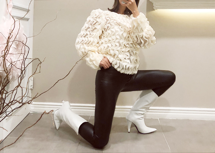 walkingcoco-chic leather leggings♡韓國女裝褲