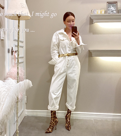 walkingcoco-utility jump-suit (ivory)♡韓國女裝連身裙