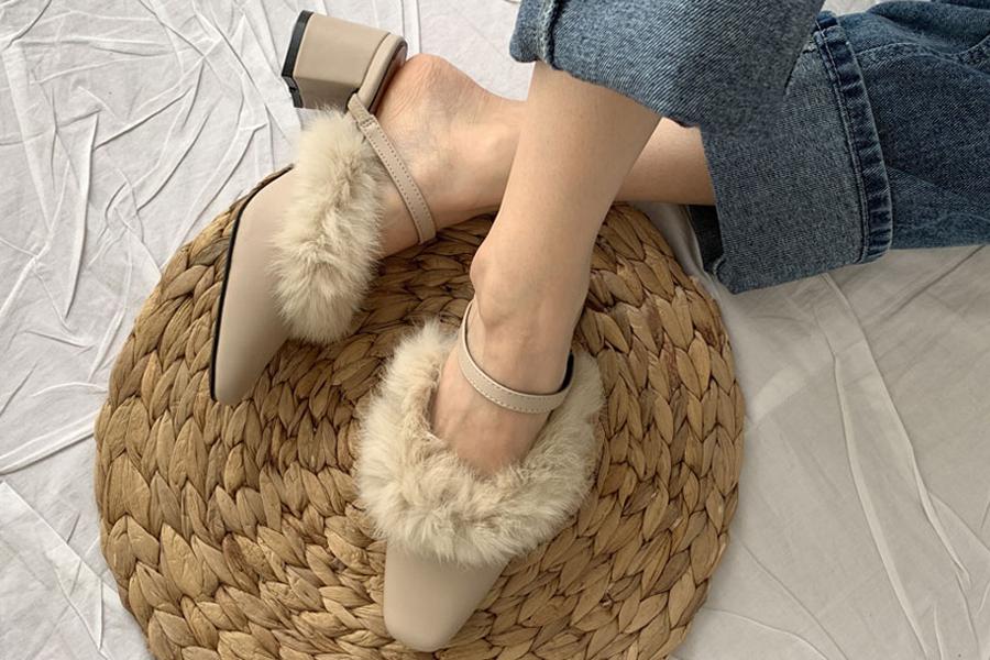 blancjo-토끼퍼 퍼트리밍 밴드 뮬힐_ss03422♡韓國女裝鞋