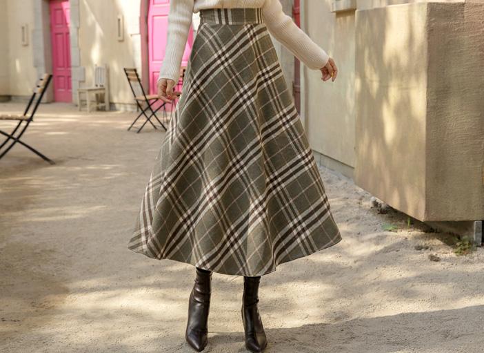 clicknfunny-[젤하디 울체크스커트[FREE,L사이즈]]♡韓國女裝裙