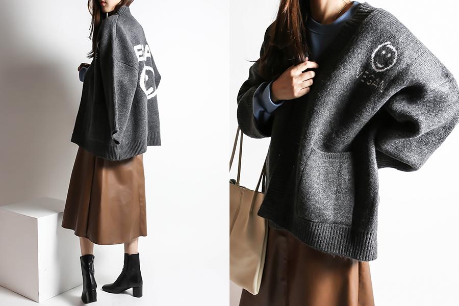 blancjo-VEGAN 스마일 오버핏 오픈 가디건_CD03428♡韓國女裝外套