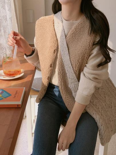 yansae-뽀글이 양털vest♡韓國女裝外套