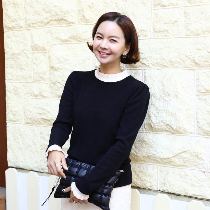 lemite-PL-탄탄시보리 프릴넥티(기모안감)(1+1,20%)♡韓國女裝上衣
