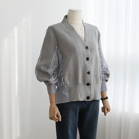jooen-KN1447/Stripe Unbal Shirts Cardigan(55~통통66)♡韓國女裝外套