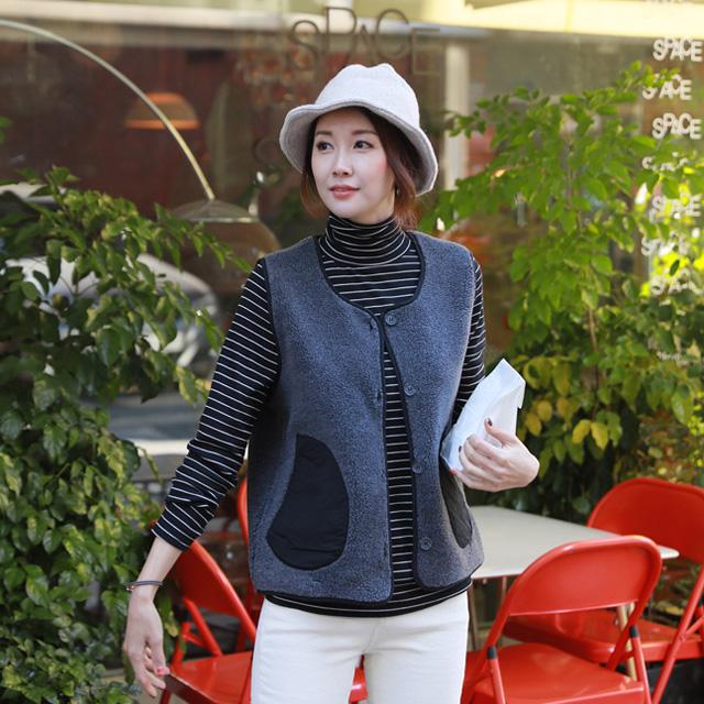 tiramisu-VS3100/포근이포켓조끼♡韓國女裝外套
