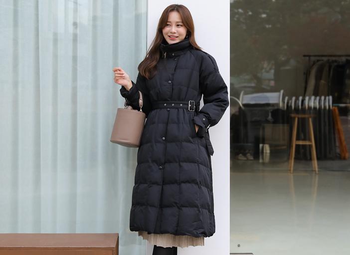 clicknfunny-[아슨 패딩점퍼+벨트SET]♡韓國女裝外套