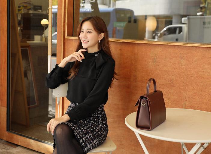 clicknfunny-[히리츠 타이블라우스+브로치SET]♡韓國女裝上衣
