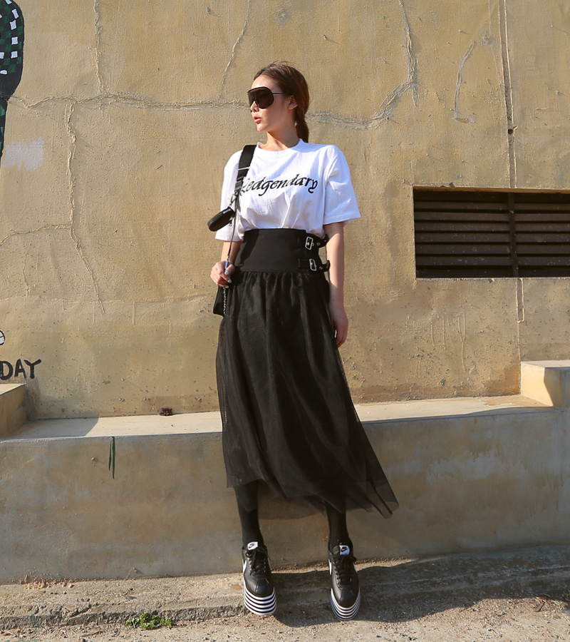 walkingcoco-buckle cha skirt♡韓國女裝裙