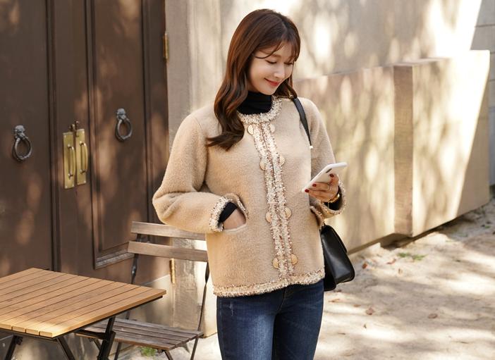 clicknfunny-[콜르베아 트위드가디건]♡韓國女裝上衣