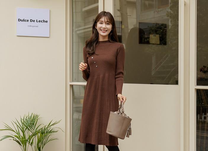 clicknfunny-[크롬므 버튼원피스]♡韓國女裝連身裙