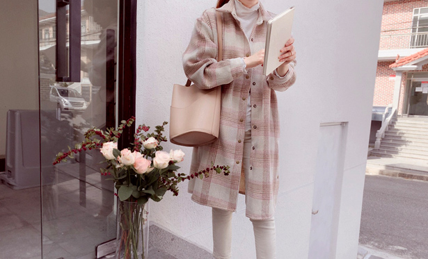 leelin-[토탈리콜 울체크 아우터[size:F(55~77)]]♡韓國女裝外套
