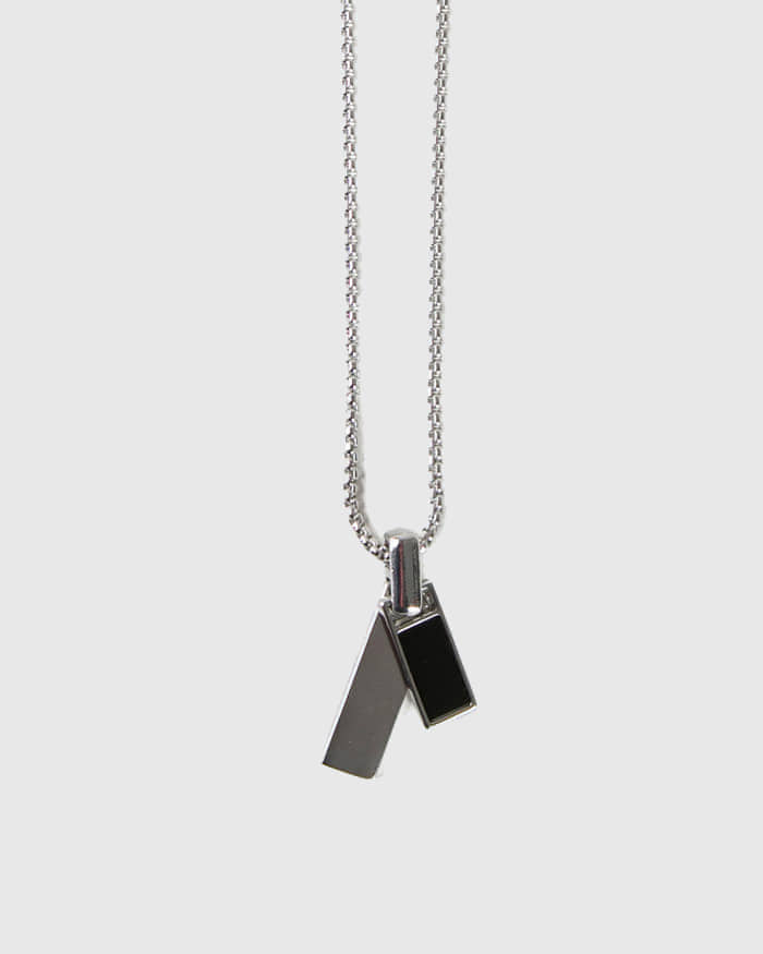 raucohouse-BLACK MATTE LAYER NECKLACE - RAUCO HOUSE♡韓國男裝飾品