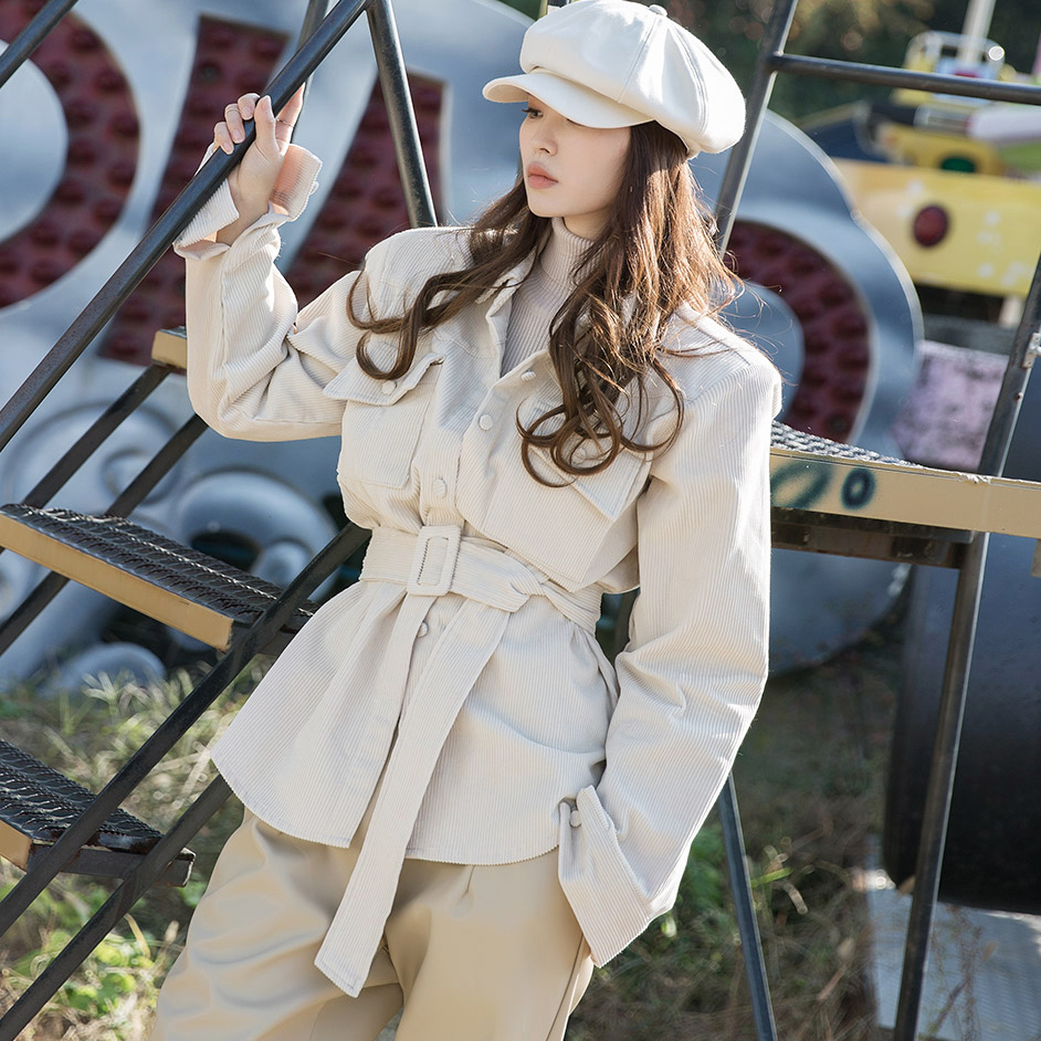 dint-[S348 윌로우 코듀로이 셔츠(벨트set)]Document♡韓國女裝套裝