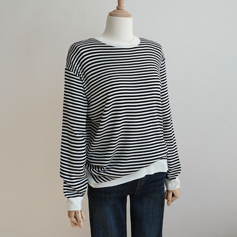 jooen-T4260/Basic Daily Stripe Knit Top(55~통통66)♡韓國女裝上衣