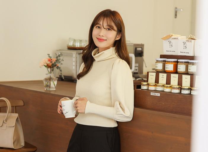 clicknfunny-[벤피스 퍼프니트]♡韓國女裝上衣