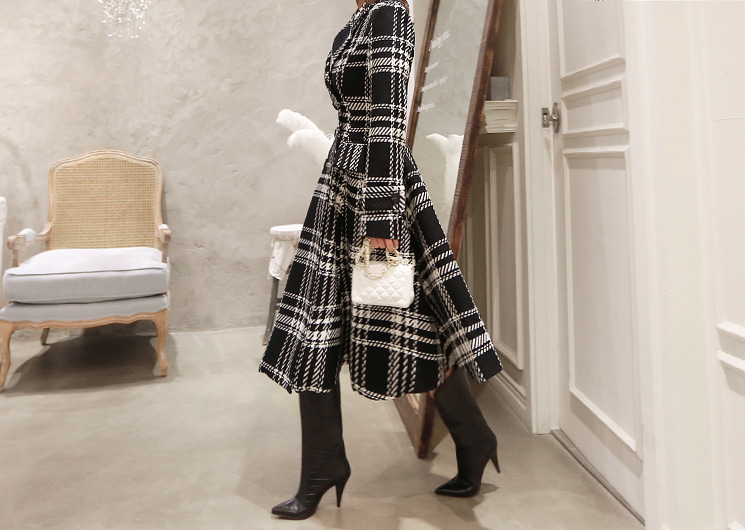 walkingcoco-check long coat (ivory)♡韓國女裝連身裙