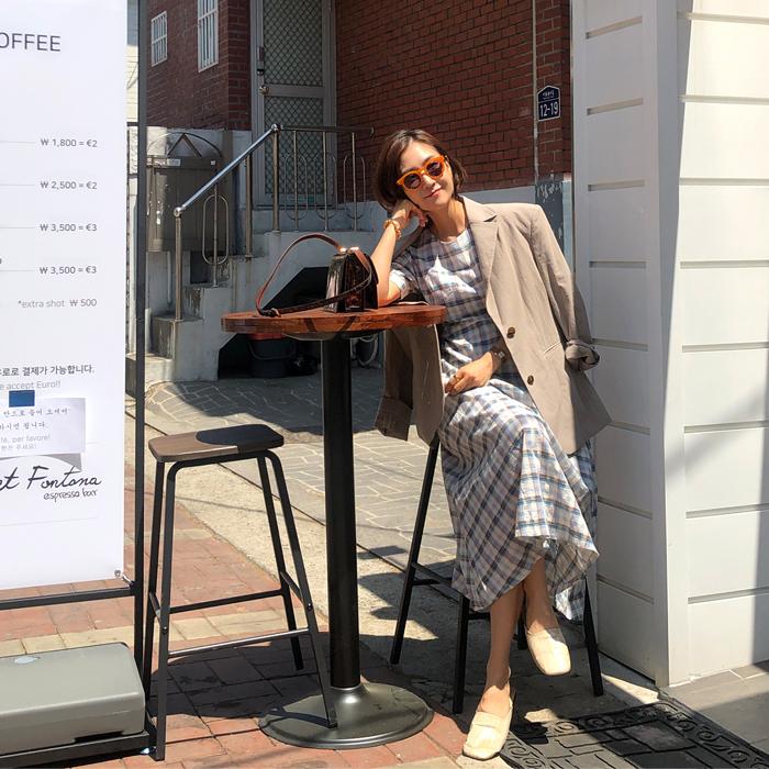 ssongbyssong-(주)쏭바이쏭 [블루 러브미 체크롱원피스 OPS]♡韓國女裝連身裙