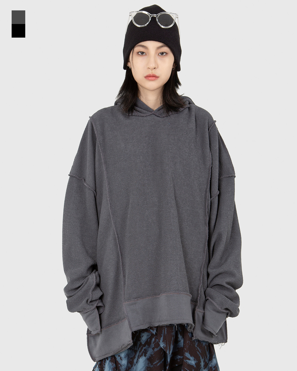 raucohouse-REVERSE PANEL OVERSIZED HOODIE - RAUCO HOUSE♡韓國男裝上衣