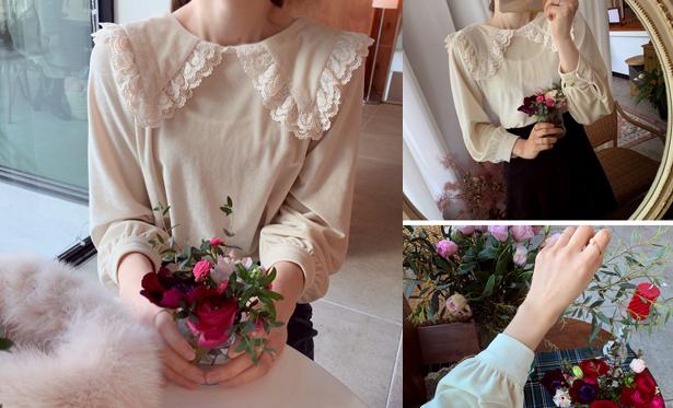 leelin-[플로션 레스카라 블라우스]♡韓國女裝上衣