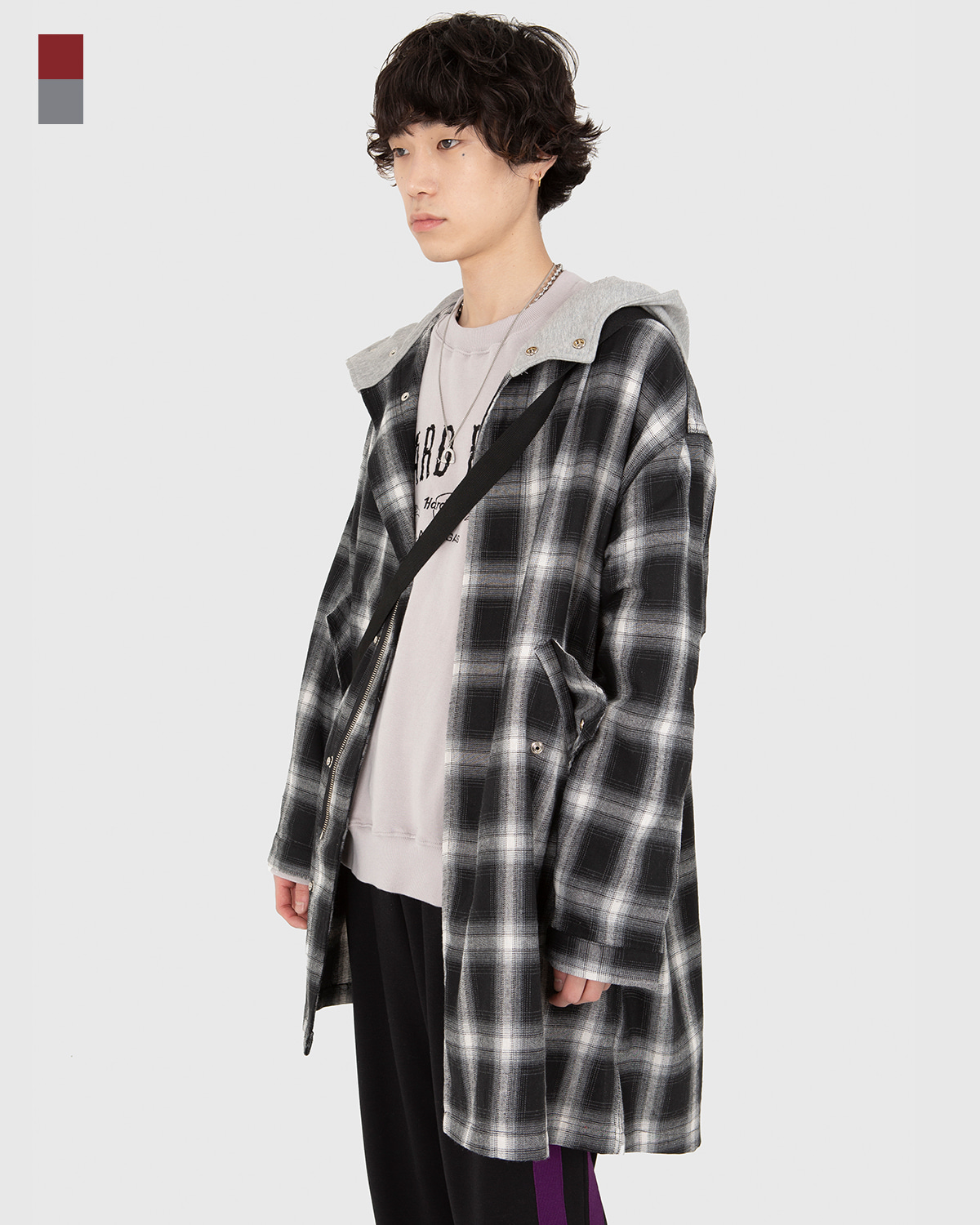 raucohouse-TARTAN CHECK HOODED LONG JACKET - RAUCO HOUSE♡韓國男裝上衣
