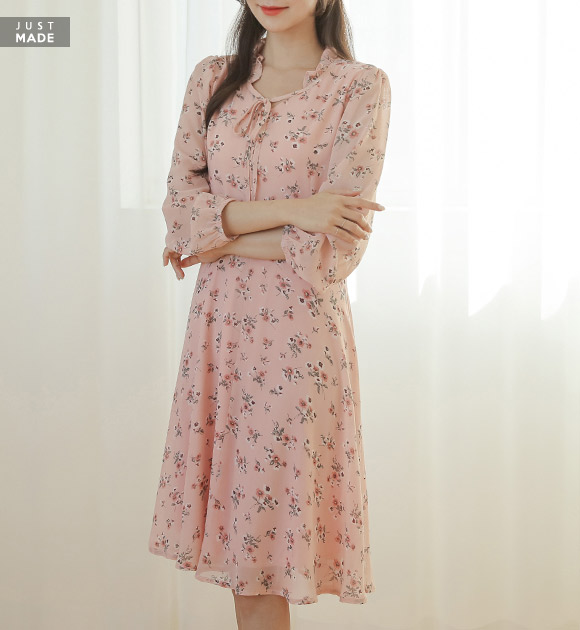 justone-미모업 리본 프릴넥 쉬폰원피스♡韓國女裝連身裙