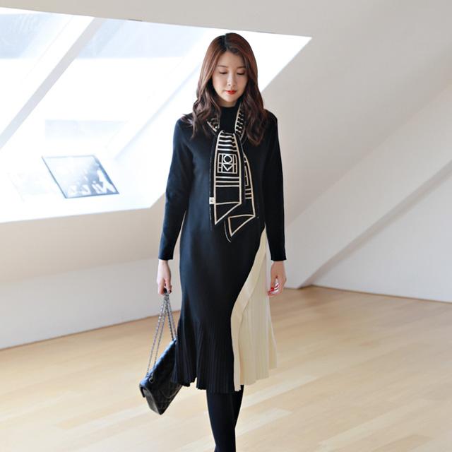 tiramisu-731안나배색니트원피스♡韓國女裝連身裙