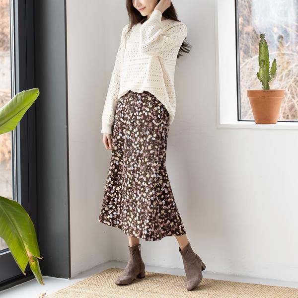misscandy-[no.18402 빈티지꽃 뒷밴딩 A라인 롱스커트]♡韓國女裝裙