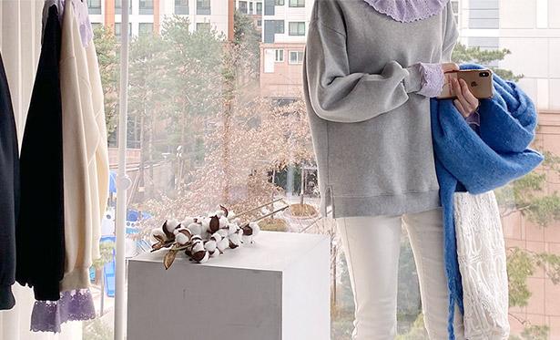 leelin-[카무엘 기모 카라 맨투맨]♡韓國女裝上衣