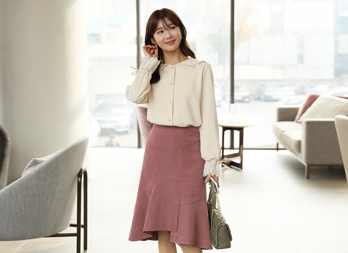 clicknfunny-[누벨 이중카라블라우스]♡韓國女裝上衣