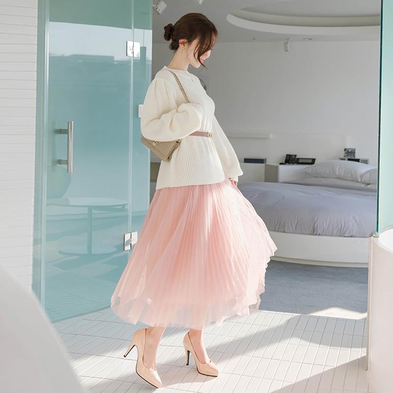 attrangs-sk3494 3중으로 제작된 드레시한 샤원단의 롱 플리츠스커트 skirt♡韓國女裝裙