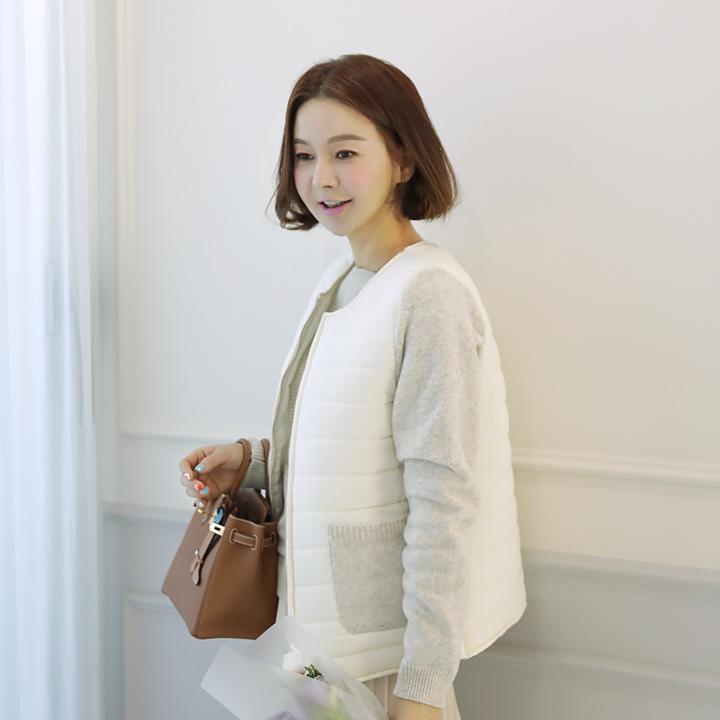 lemite-니트경량 배색패딩♡韓國女裝外套