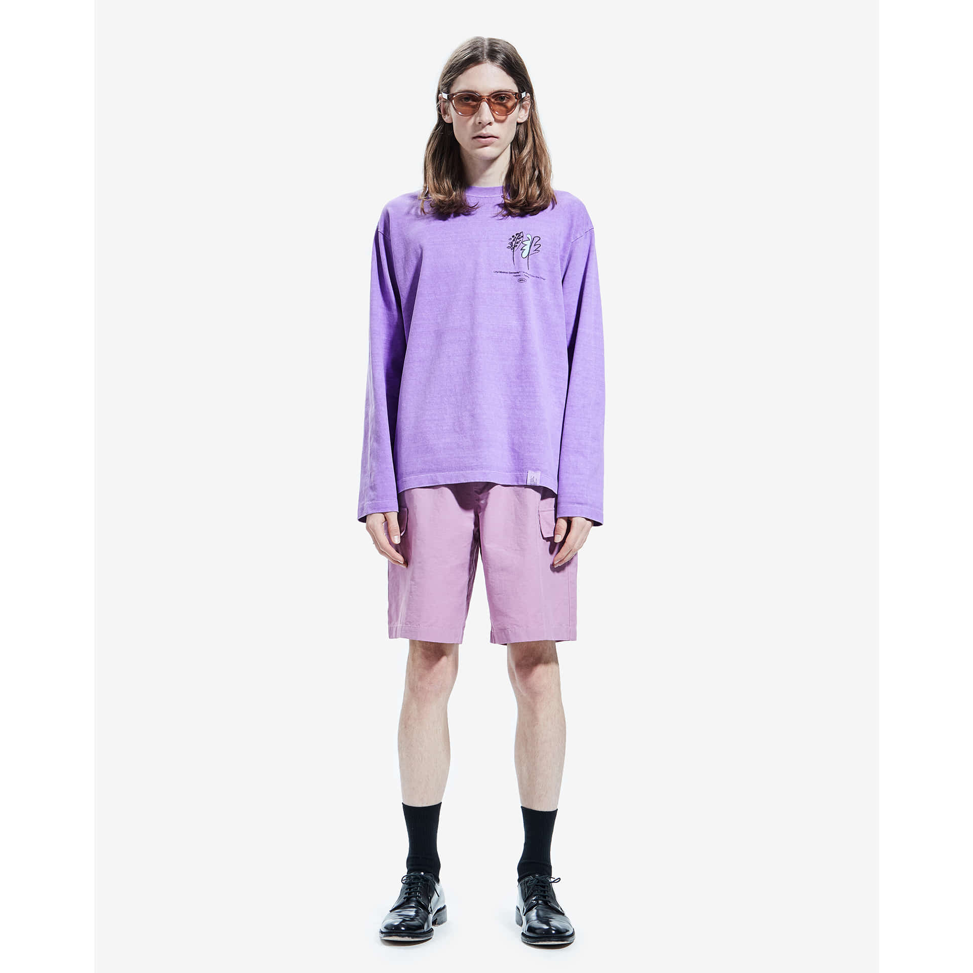 layer-P-DYED FLOWER LONG SLEEVE TEE violet♡韓國男裝上衣