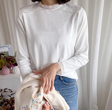 leelin-[엔젤러 레이스 티]♡韓國女裝上衣