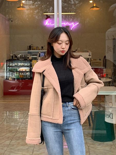 ggsing-[무료배송]포근양털 데일리 무스탕JK (올양털안감)♡韓國女裝外套